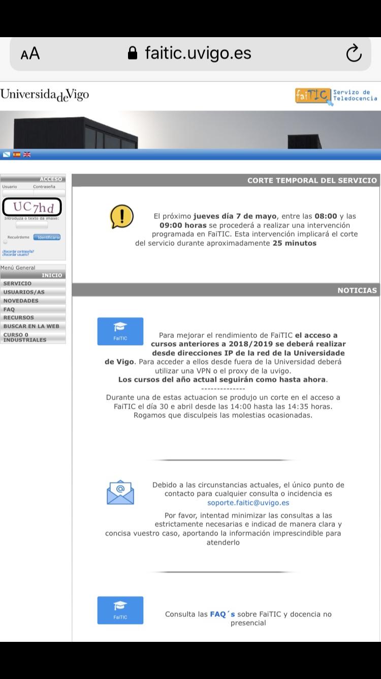 Portal de acceso al campus virtual de la UVIGO con CAPTCHA sin alternativa sonora